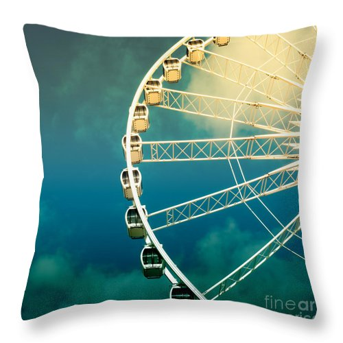 Activity Throw Pillow featuring the photograph Ferris Wheel Old Photo by Jane Rix
