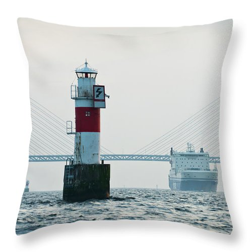Copenhagen Throw Pillow featuring the photograph Ferry On Sea, Oresund Bridge In by Johner Images