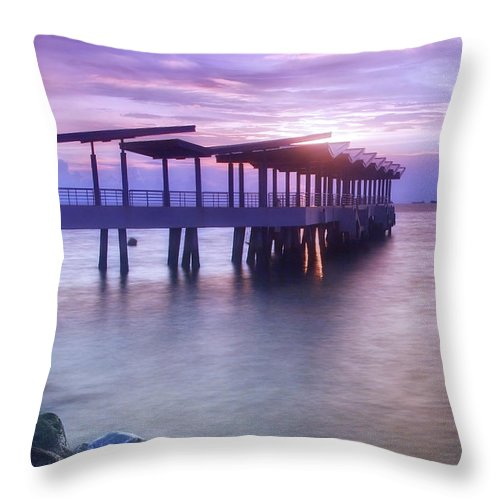 Scenics Throw Pillow featuring the photograph Ferry Station by Melv Pulayan