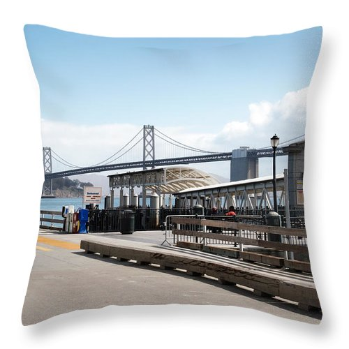 Port Throw Pillow featuring the photograph Ferry Terminal by Jo Ann Snover