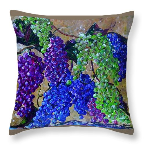 Grapes Throw Pillow featuring the painting Festival Of Grapes by Eloise Schneider Mote