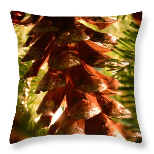 Pinecone Throw Pillow featuring the photograph Festive 3 by Debra Beaupre