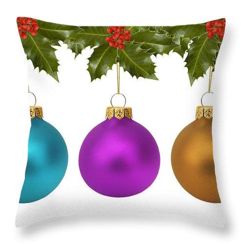 Festive Christmas Baubles Throw Pillow featuring the photograph Festive Christmas Baubles by Gillian Dernie