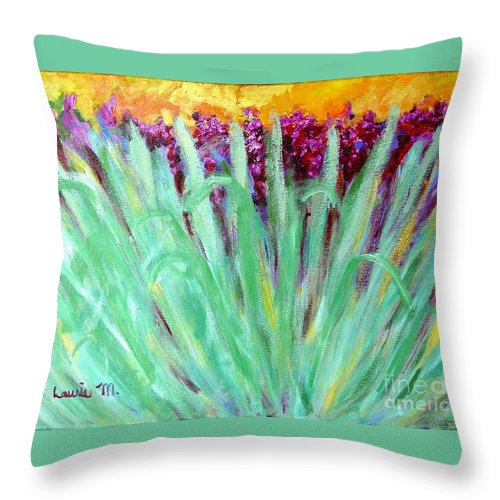 Abstract Throw Pillow featuring the painting Festoon by Laurie Morgan