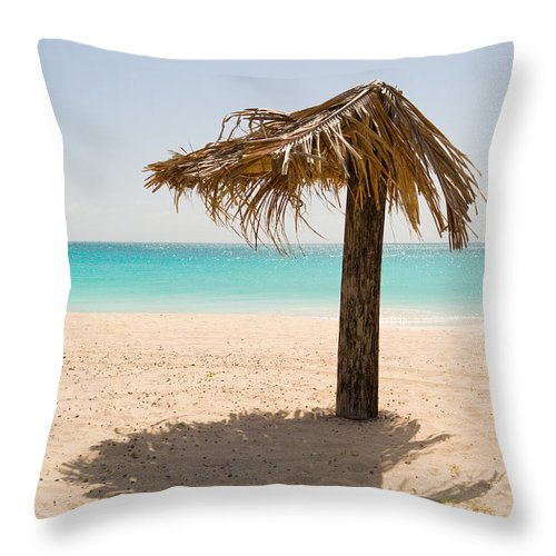 Antigua And Barbuda Throw Pillow featuring the photograph Ffryers Beach Hut by Ferry Zievinger