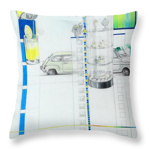 Fiat Cinquecento Throw Pillow featuring the drawing Fiat Cinquecento by Lucia Hoogervorst