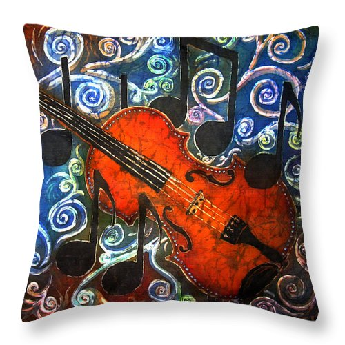 Fiddle Throw Pillow featuring the painting Fiddle - Violin by Sue Duda