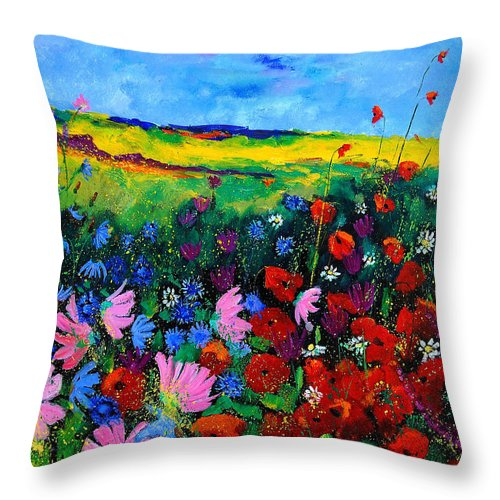 Poppies Throw Pillow featuring the painting Field Flowers by Pol Ledent