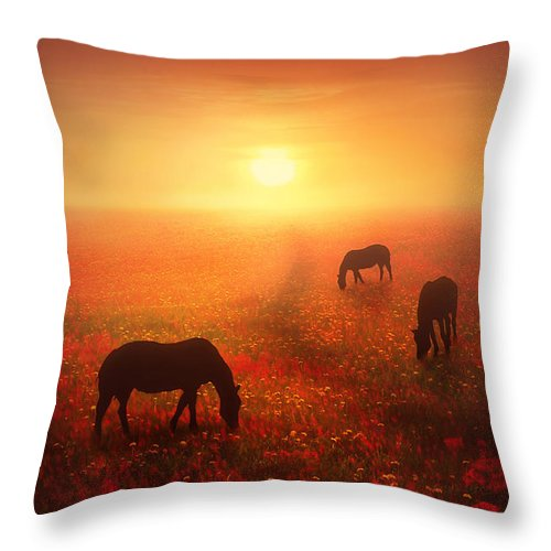 Horse Throw Pillow featuring the digital art Field Of Dreams by Jennifer Woodward