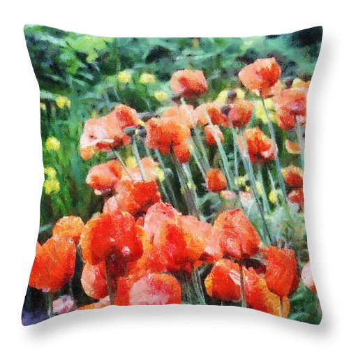 Canadian Throw Pillow featuring the painting Field Of Flowers by Jeffrey Kolker
