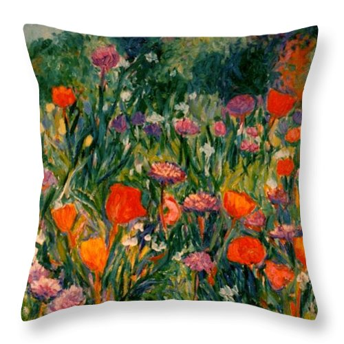 Flowers Throw Pillow featuring the painting Field Of Flowers by Kendall Kessler