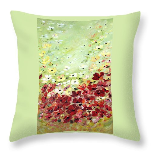 Wild Poppies Throw Pillow featuring the painting Field Of Poppies by Dorothy Maier