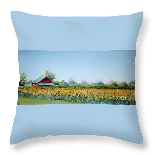 Landscape Throw Pillow featuring the painting Field Of Sunshine by Patricia Henderson