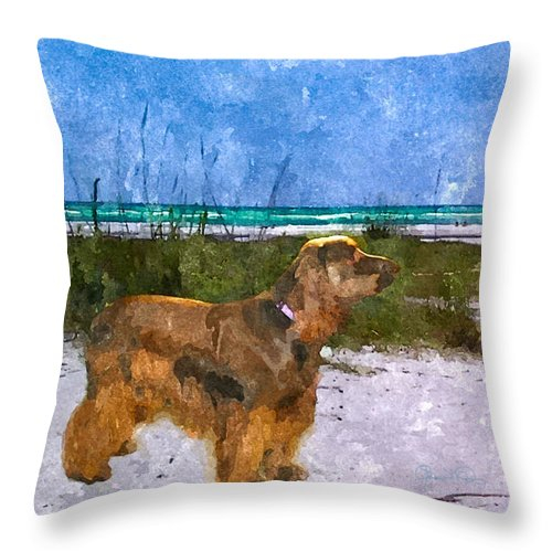 susan Molnar Throw Pillow featuring the photograph Field Spaniel Elegance by Susan Molnar