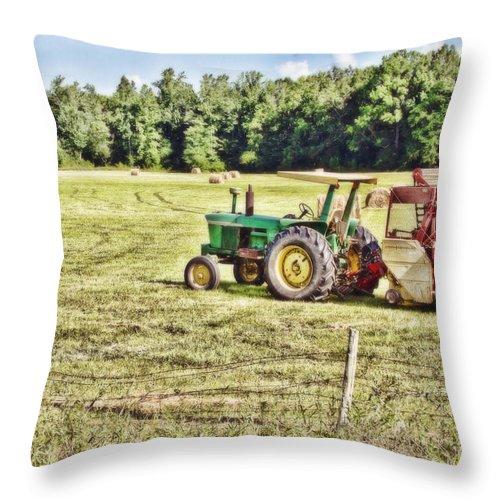 Tractor Throw Pillow featuring the photograph Field Work by Scott Pellegrin