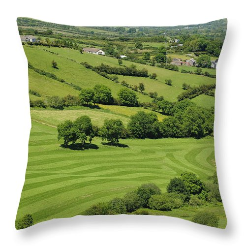 County Antrim Throw Pillow featuring the photograph Fields In Northern Ireland by John Shaw