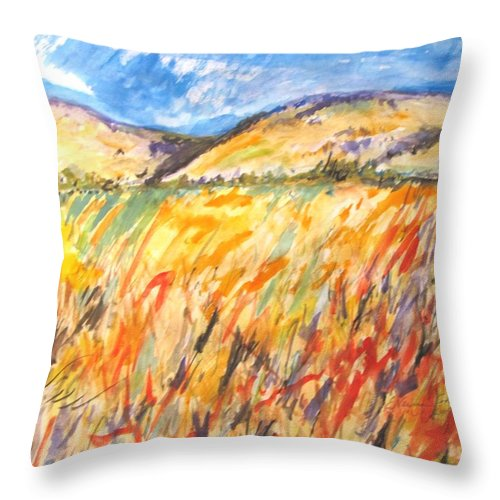 Fields Of Grain Throw Pillow featuring the painting Fields Of Grain by Esther Newman-Cohen