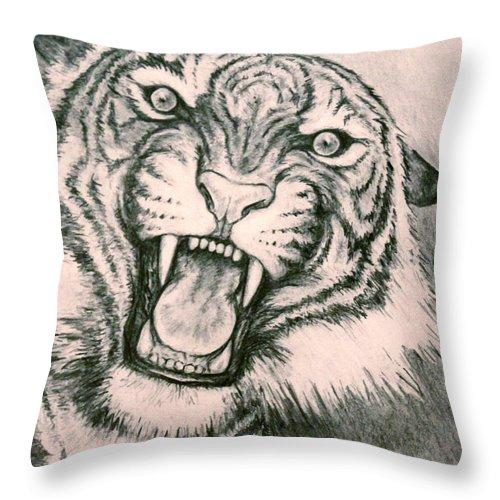 Tiger Throw Pillow featuring the drawing Fierce by Kelci Pauk