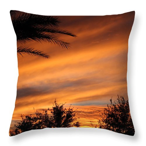 Sunset Throw Pillow featuring the photograph Fiery Arizona Sunset by Gregg S