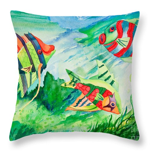 Fiesta Fish Throw Pillow featuring the painting Fiesta Fish by Michelle Constantine
