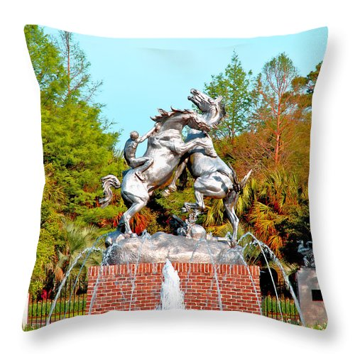 Sculpture Throw Pillow featuring the photograph Fighting Stallions by Pat Walsh