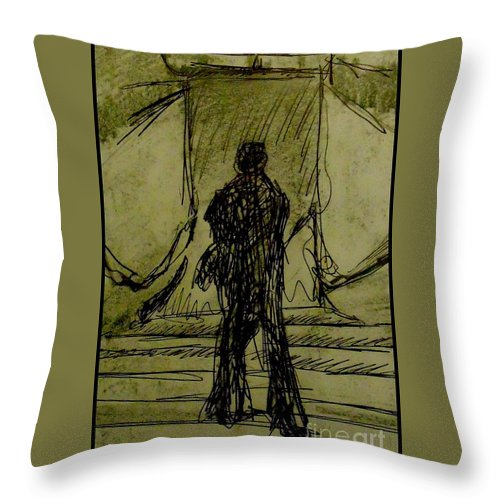 Figures Throw Pillow featuring the drawing Figure Decending by John Malone