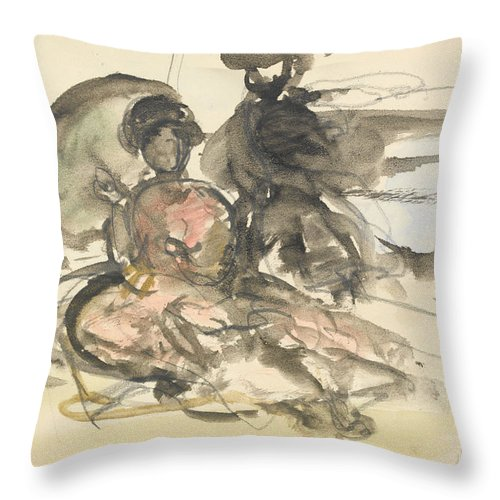 Figure Throw Pillow featuring the drawing Figure Study Two Women Seated by Philip Wilson Steer