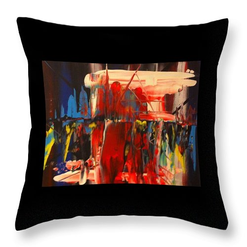 Figures Throw Pillow featuring the painting Figures by Jenny Stoddard