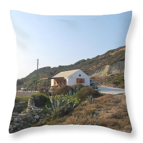 Fiki Bay Bar Throw Pillow featuring the photograph Fiki Bay Bar by George Katechis