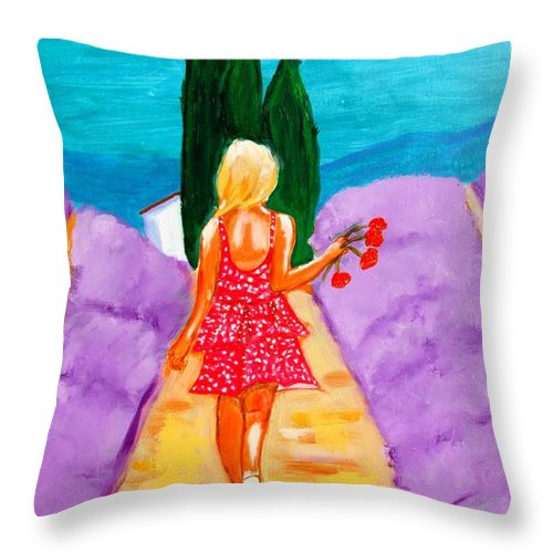 Provence Throw Pillow featuring the painting Fille Provencale by Rusty Gladdish