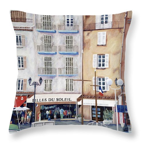St. Tropez Throw Pillow featuring the painting Filles Du Soleil by Danielle Perry