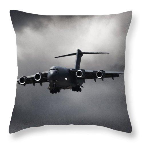Boeing C-17 Globemaster Iii Throw Pillow featuring the photograph Final Approach by Paul Job
