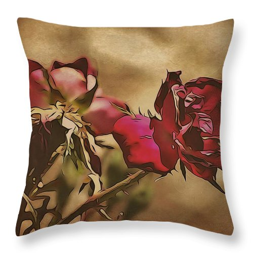 Roses Throw Pillow featuring the photograph Final Chapter by Annie Adkins
