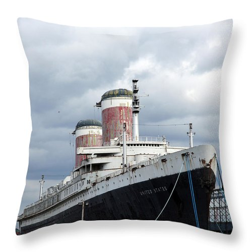 Ship Throw Pillow featuring the photograph Final Destination - United States Liner by Christiane Schulze Art And Photography