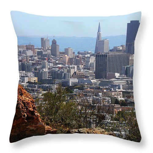 San Francisco Throw Pillow featuring the photograph Financial District From Corona Heights by Robert Woodward