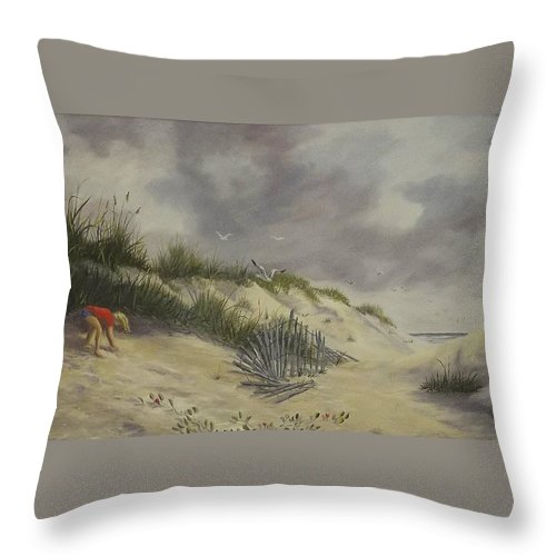 Seascape Throw Pillow featuring the painting Finding Treasure by Wanda Dansereau