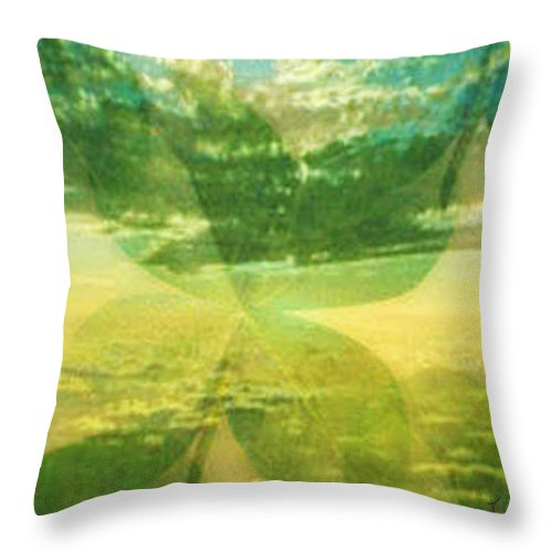 Mixed Media Throw Pillow featuring the digital art Finding Your Clover by PainterArtist FIN