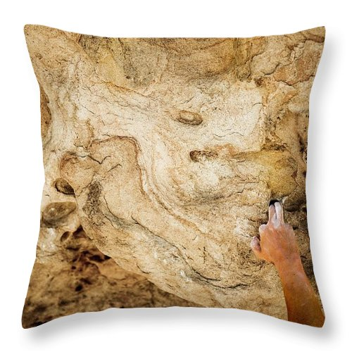 Adventure Throw Pillow featuring the photograph Fingers In A Pocket While Climbing by Dylan Lucas Gordon