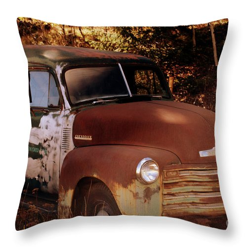 Chevrolet Panel Truck Throw Pillow featuring the photograph Chevy Shadows by Anjanette Douglas