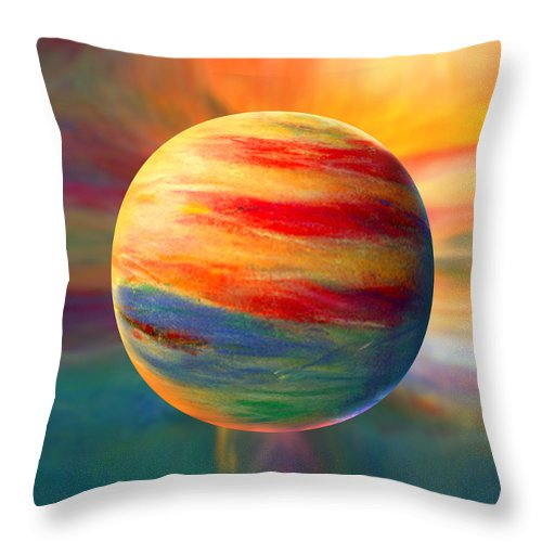 Fire Throw Pillow featuring the painting Fire And Ice Ball by Robin Moline
