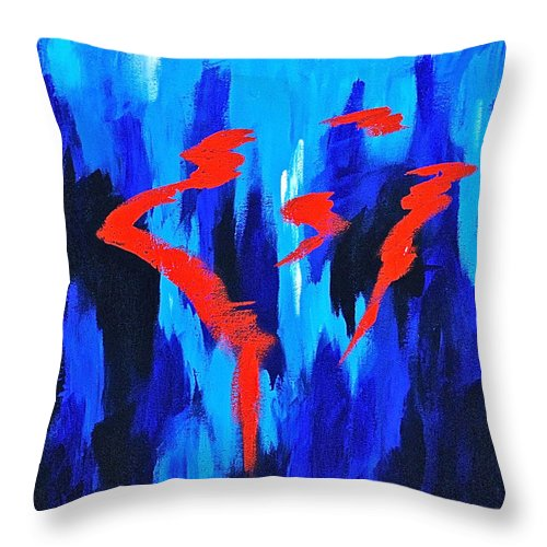 Abstracts By Herschel Fall Red And Blue 3d Throw Pillow featuring the painting Fire And Ice by Herschel Fall