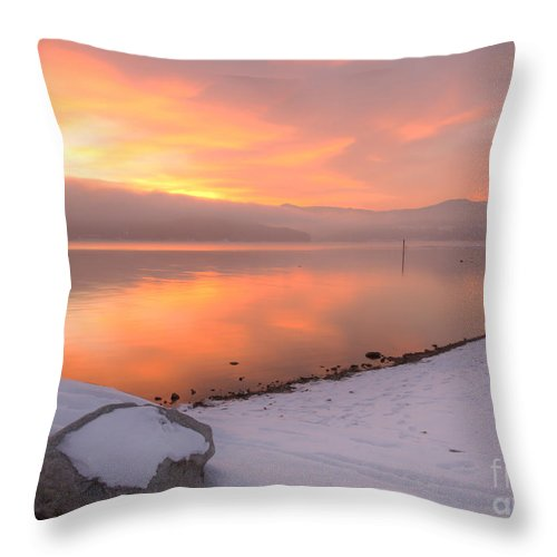 Coeur D'alene Lake Throw Pillow featuring the photograph Fire And Ice by Idaho Scenic Images Linda Lantzy
