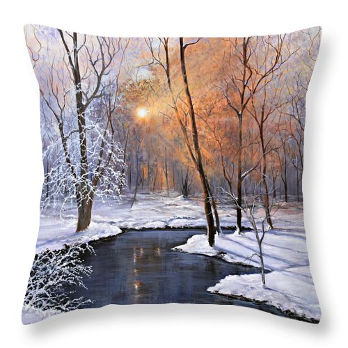 Frozen Throw Pillow featuring the painting Fire And Ice by Julie Townsend