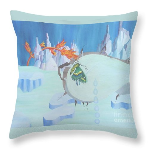Landscape Throw Pillow featuring the painting Fire And Ice by Richard Dotson