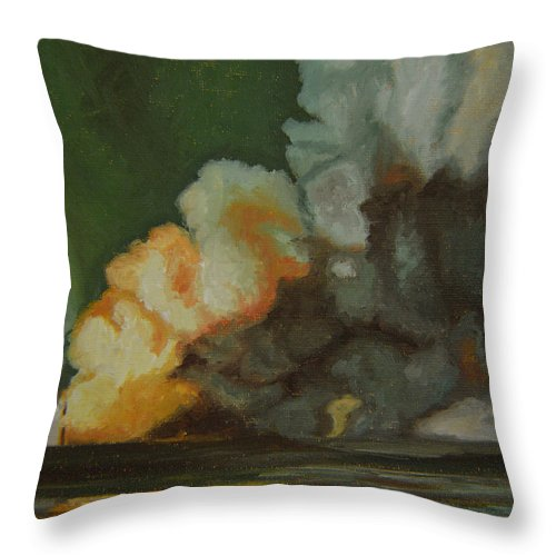 Water Throw Pillow featuring the painting Fire And Water by Thu Nguyen