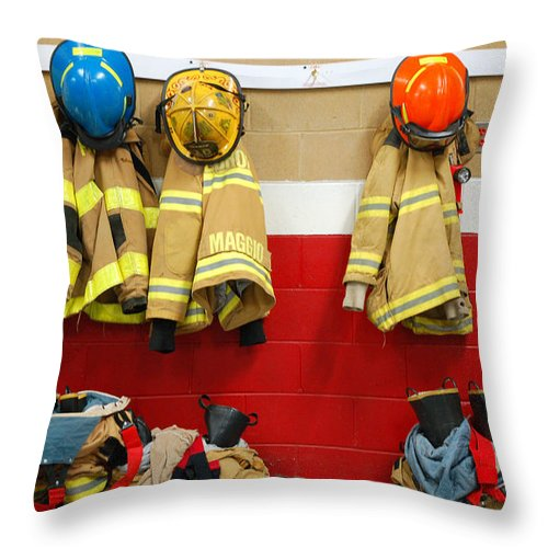 Fire Throw Pillow featuring the photograph Fire Equipment At Rest by James Kirkikis