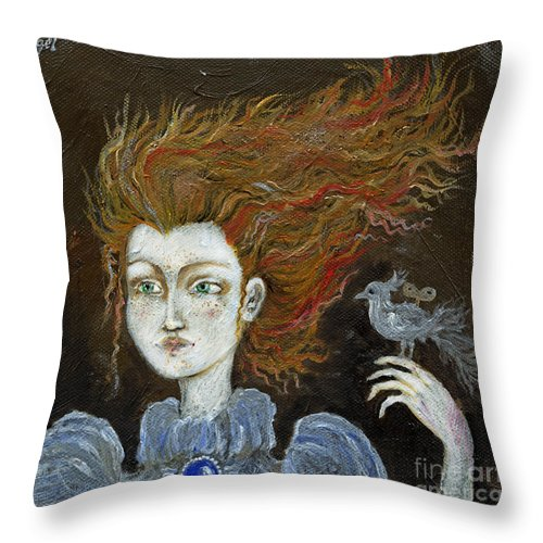 Portrait Throw Pillow featuring the painting Fire Haired Girl by Angel Ciesniarska