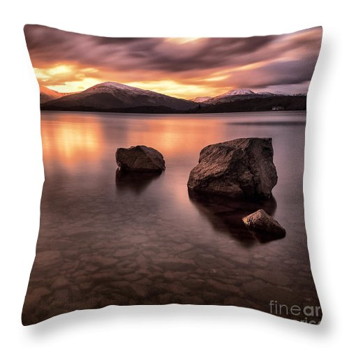 Loch Lommond Throw Pillow featuring the photograph Fire In The Sky Loch Lomond by John Farnan