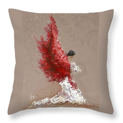 Dance Throw Pillow featuring the painting Fire by Karina Llergo