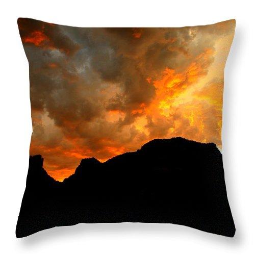 Arizona Throw Pillow featuring the photograph Fire Mountain by Miles Stites